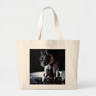 French Bulldog Amateur Photographer Dog Jumbo Tote Bag