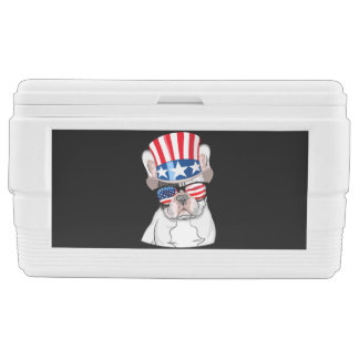 French Bulldog American Flag 4th of July Chest Cooler