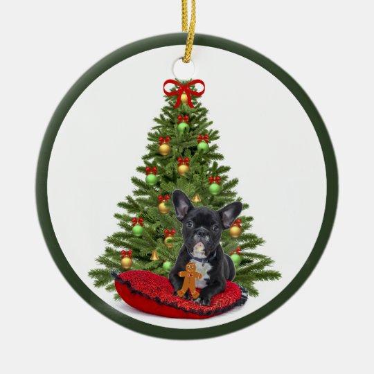 French Bulldog and Christmas Tree Ornament | Zazzle.com