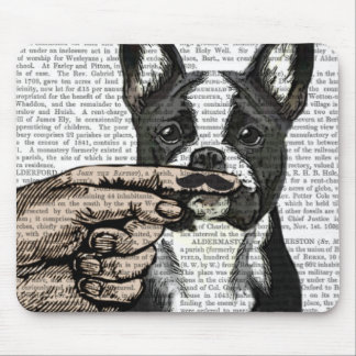 French Bulldog and Finger Moustache Mouse Pad