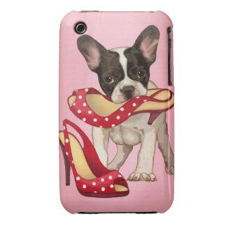 French bulldog and polka dot shoe Case-Mate iPhone 3 case