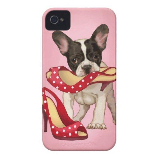 French bulldog and polka dot shoe iPhone 4 case