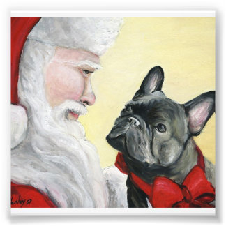 French Bulldog and Santa Dog Art Print