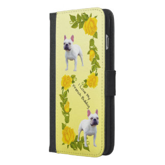 French Bulldog and yellow roses iPhone 6/6s Plus Wallet Case