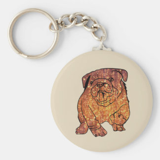 French Bulldog Art  Basic Button Key Ring