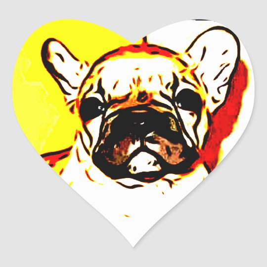 French Bulldog Art Heart Sticker