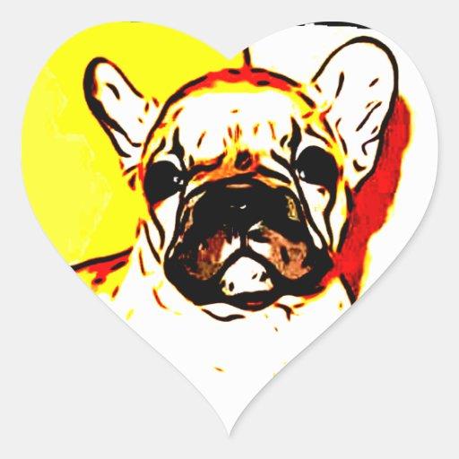 French Bulldog Art Heart Stickers