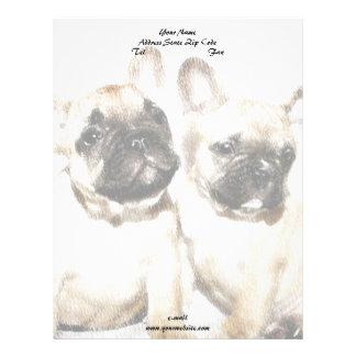 French Bulldog art Letterhead