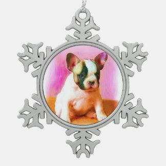 French Bulldog Art Snowflake Pewter Christmas Ornament