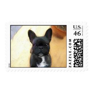 French Bulldog art postage