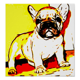 French bulldog art poster