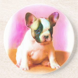 French Bulldog Art Sandstone Coaster