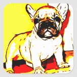French Bulldog Art Square Stickers
