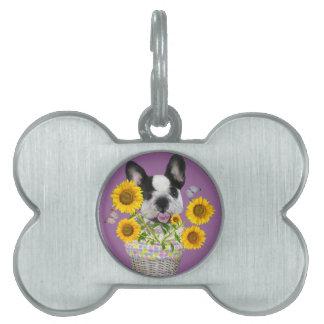French Bulldog Basket Of Daisies Gifts Pet Name Tag