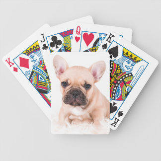 French bulldog. bicycle playing cards