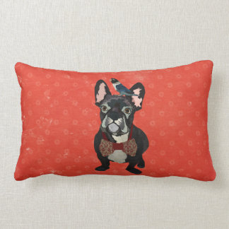 French Bulldog & Bird Floral Mojo Pillow