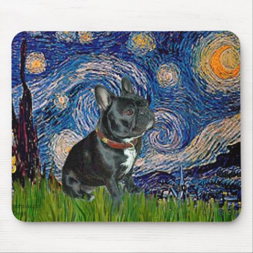 French Bulldog (black 11) - Starry Night Mouse Pad