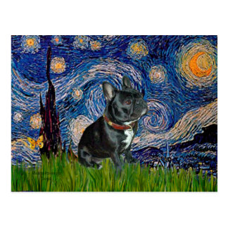 French Bulldog (black 11) - Starry Night Post Card