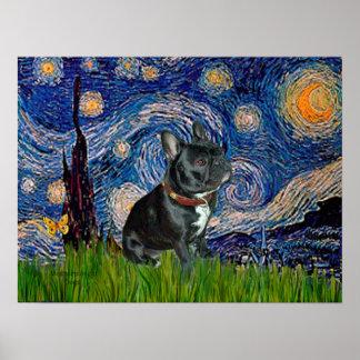 French Bulldog (black 11) - Starry Night Posters