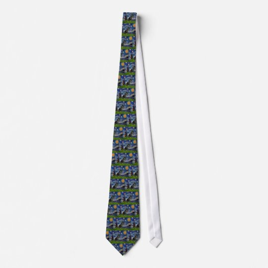 French Bulldog (black 11) - Starry Night Tie