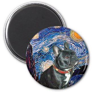 French Bulldog (black 11) - Starry Night (vert) 2 Inch Round Magnet