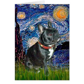 French Bulldog (black 11) - Starry Night (vert) Greeting Card