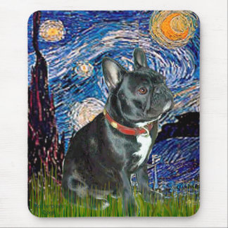 French Bulldog (black 11) - Starry Night (vert) Mouse Pad