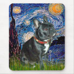 French Bulldog (black 11) - Starry Night (vert) Mouse Pad