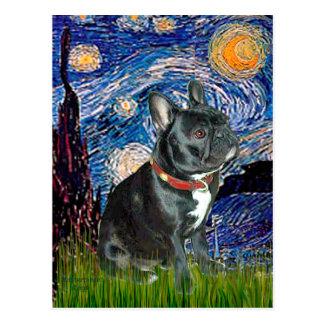 French Bulldog (black 11) - Starry Night (vert) Postcard