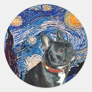 French Bulldog (black 11) - Starry Night (vert) Round Stickers