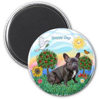 French Bulldog (black) 2 Inch Round Magnet