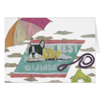 French Bulldog, Black And White Frenchie, Colorful Card