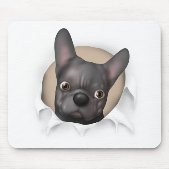 French Bulldog (Black) Busting Out Mouse Pad
