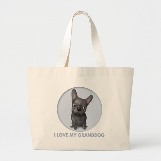French Bulldog (Black) Granddog Large Tote Bag