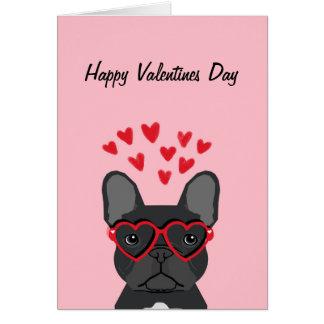 French Bulldog - black happy valentines day card