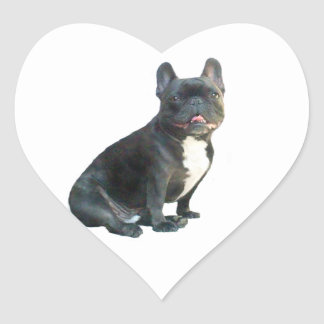 French Bulldog (black) Heart Sticker