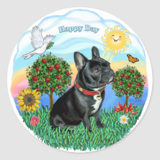French Bulldog (black-red collar) Round Sticker