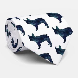 French Bulldog Black Watercolor Silhouette Neck Tie