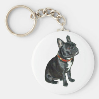 French Bulldog - Black with red collar Key Chains