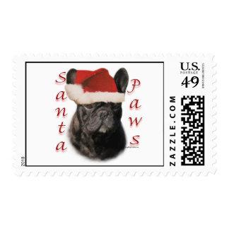 French Bulldog (blk) Santa Paws Postage Stamp