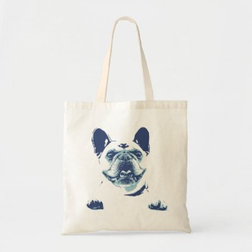 Beach Themed French Bulldog Blue Graphics Tote Bag