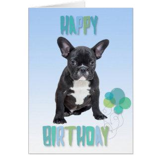 French Bulldog Blue Happy Birthday Greeting Card