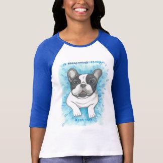 French Bulldog blue raglan shirt