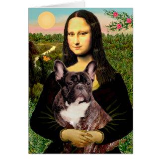 French Bulldog (br10) - Mona Lisa Greeting Card