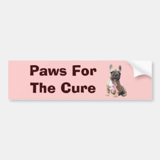French Bulldog Breast Cancer Bumper Sticker Car Bumper Sticker