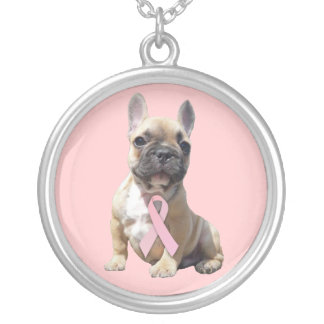 French Bulldog Breast Cancer Necklace