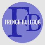French Bulldog Breed Monogram Design Classic Round Sticker