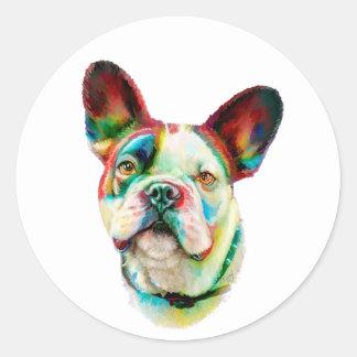 French Bulldog Bright Bust Round Stickers