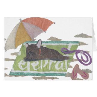French Bulldog, Brindle Frenchie, Colorful, Beach Card