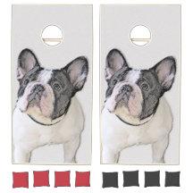 Cornhole Boards Wraps Set Curious French Bulldog